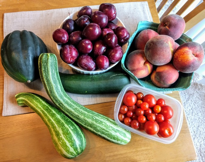 late summer fruit and vegetable harvest