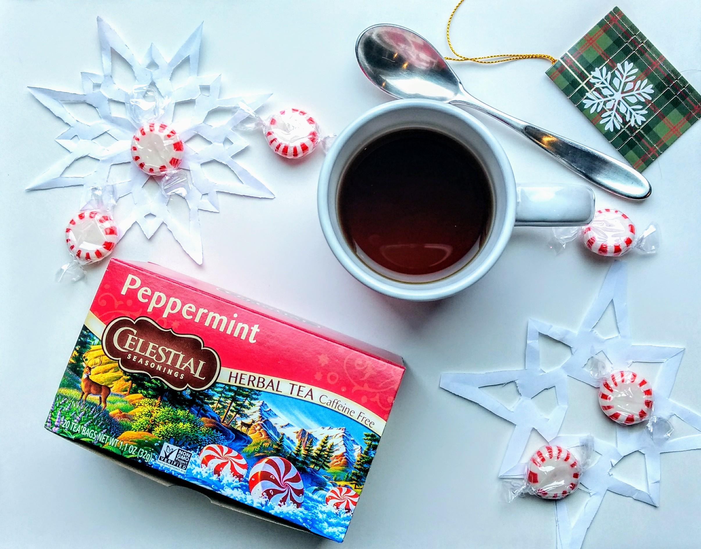 Foodie Favorite Celestial Seasonings Peppermint Tea cozy and sage